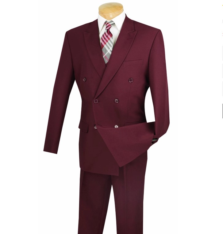 Atlantis Collection – Burgundy Regular Fit Double Breasted 2 Piece Suit