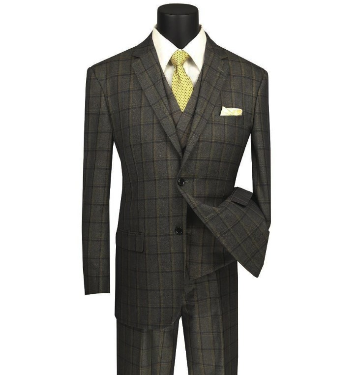 Atrani Collection – Regular Fit Windowpane Suit 3 Piece in Brownish Olive 1