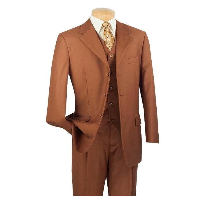 Avalon Collection – Regular Fit Men's Suit 3 Button 3 Piece Cognac2
