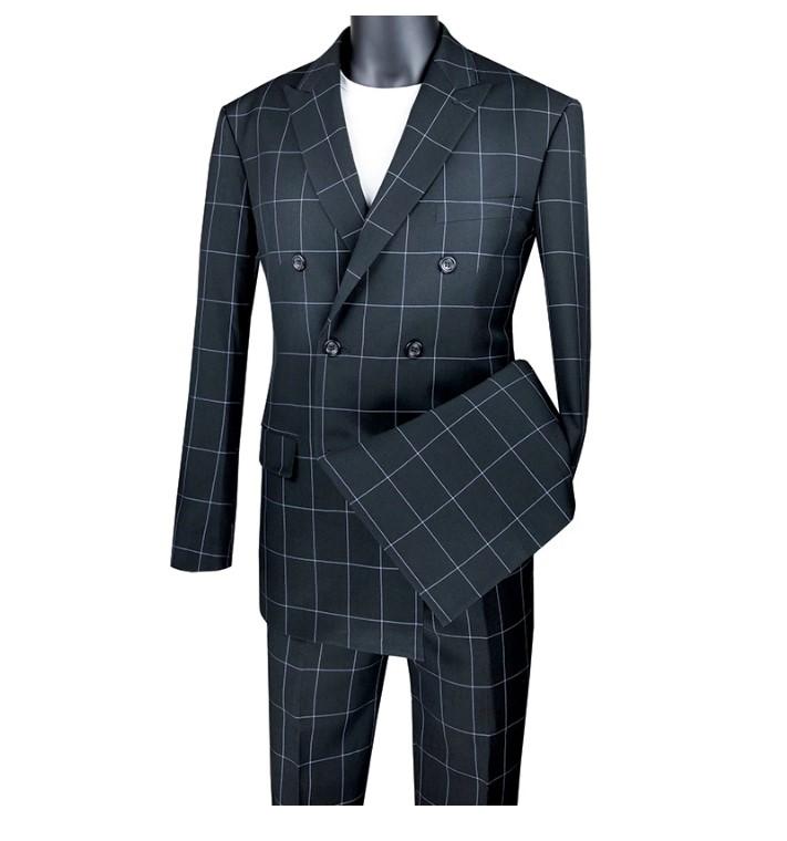 Black Modern Fit Double Breasted Windowpane Peak Lapel 2 Piece Suit-1