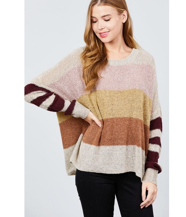 Long dolman sleeve round neck multi color block sweater-id.cc395913