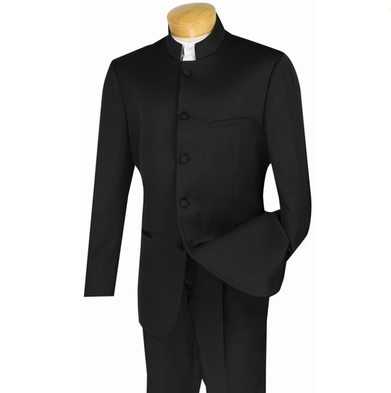 Master Collection – Regular Fit Men's 2 Piece Banded Collar Tuxedo Black