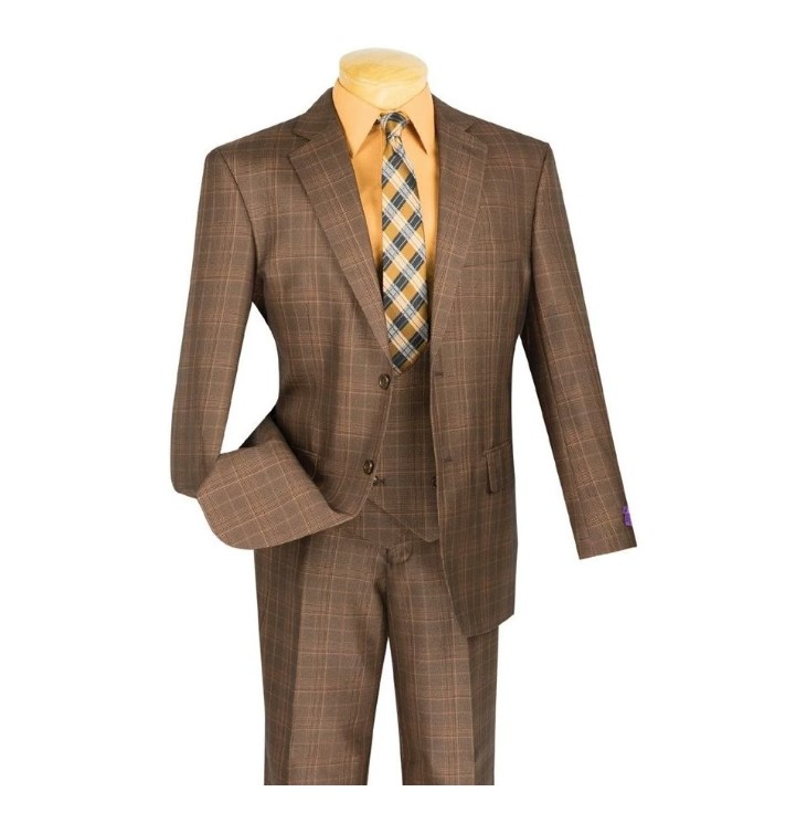 Renaissance Collection – Regular Fit 3 Piece Suit – chestnut
